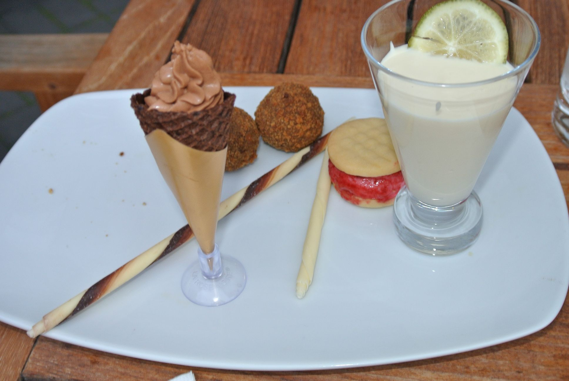 Chocolate Trio - Raspberry Cromesqui, Ginger Chocolate Mousse, White Hot Chocolate and Lime, Mini Ice Cream Sandwich