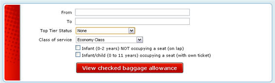 Checked baggage allowance calculator for Air Canada