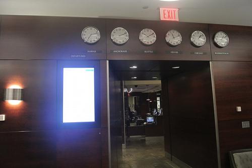 World Clocks Alaska Airlines lounge