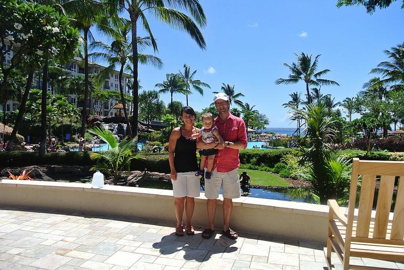 Family photo in front of Westin Kaanapali Resort Maui