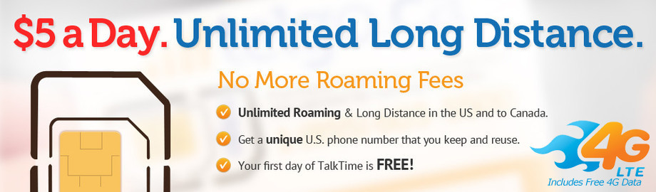 Telgo.ca $5 SIM CARD for $5/Day Unlimited US to US and US to CANADA Roaming