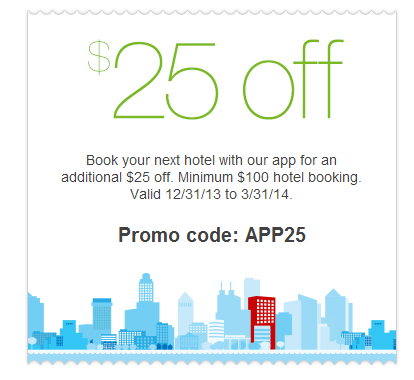 Save $25 off Hotwire booking with App download