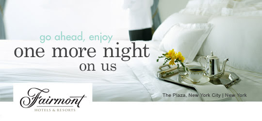 Complimentary night at select Fairmont properties with American Express Platinum Card