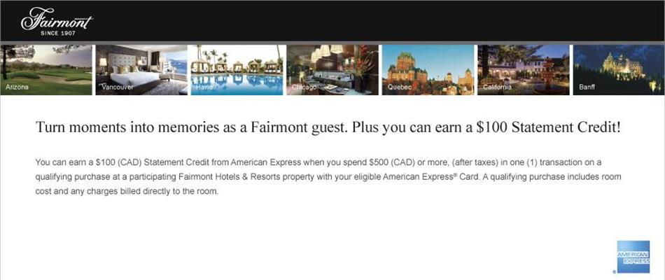 Amex Member Offer – $100 off Fairmont Stay (Minimum spend $500)