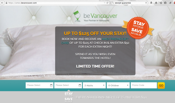 Vancouver Hotel AMEX Promo – Free $50-$125 Gift Card with Booking