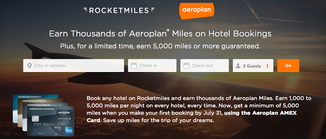 Earn at least 5,000 Aeroplan Miles on your first Rocketmiles booking made with an Aeroplan affiliated Amex Card