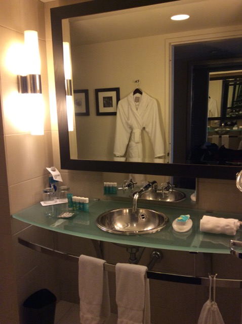 W Seattle Hotel - Slick bathroom with robe.