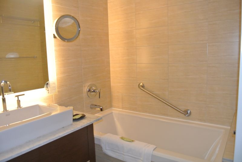 Nice sized bathroom with tub/shower at Westin Wall Center Vancouver Airport