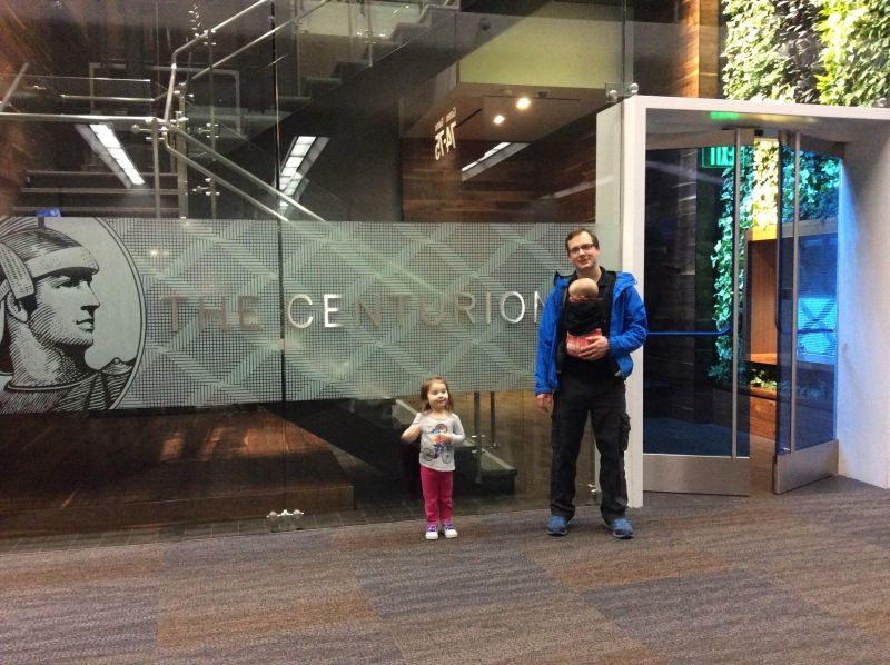 My daughters and I at the American Express Centurion Lounge - San Francisco (SFO)
