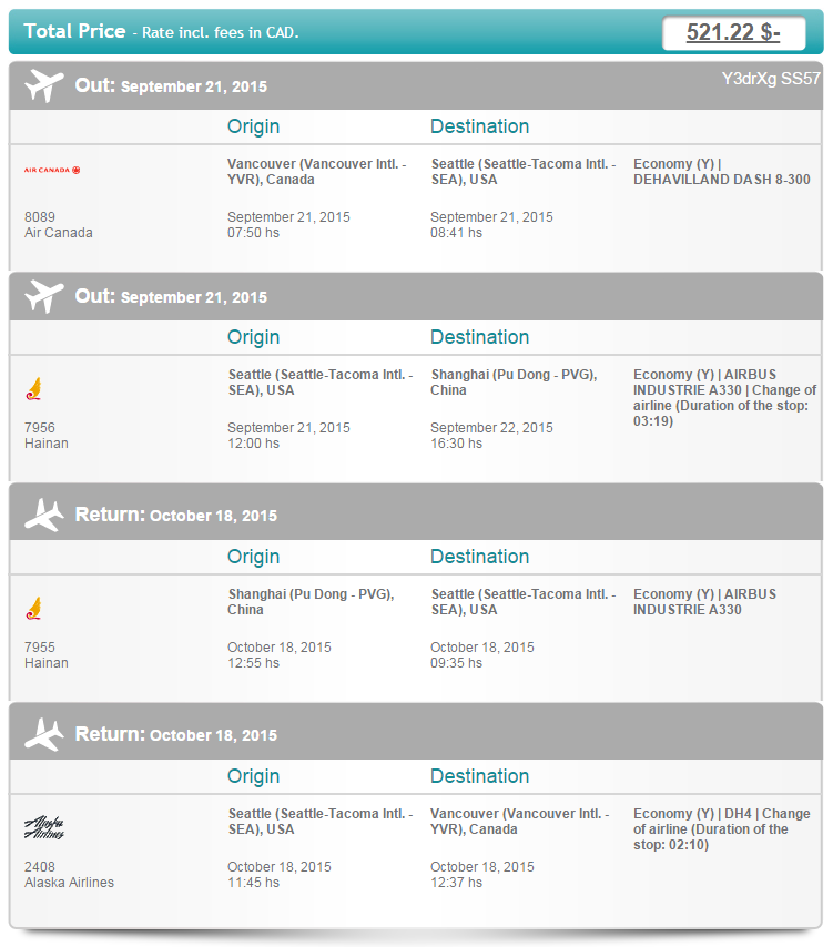 Vancouver and Calgary to Shanghai in (September and October) Under $530 Round-trip