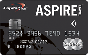 $250 Cash Back on Approval for Capital One Aspire Travel World Elite MasterCard – Ends August 31, 2015