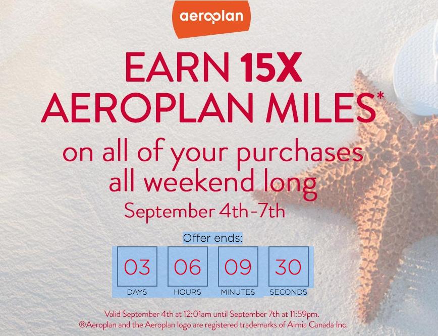 Shop.ca – 15x Aeroplan Miles September 4-7, 2015