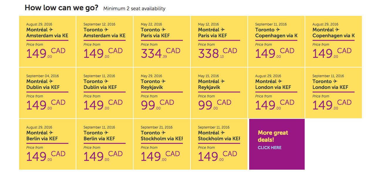 WOW Air: $99 between Toronto or Montreal and Iceland