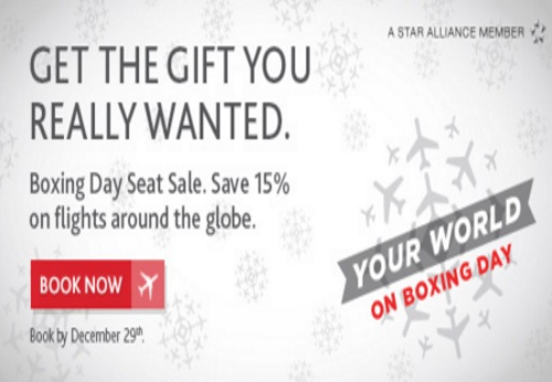 Air Canada Boxing Day Seat Sale 15 Off Flights Worldwide